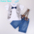 Humor bear conjunto de roupas infantis do bebê meninos camisa bowknot + strap Jean Terno Ajustado Meninos Roupas de Bebê Menino Roupas crianças roupas conjunto