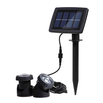 Solar Powered Super Bright Submersible Lamps IP68 Spotlight Projection Lights for Garden Pool Pond Outdoor Underwater Light