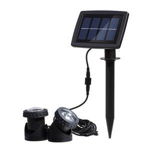 Image 2 - Solar powered super brilhante lâmpadas submersíveis ip68 holofotes luzes de projeção para jardim piscina lagoa luz subaquática ao ar livre