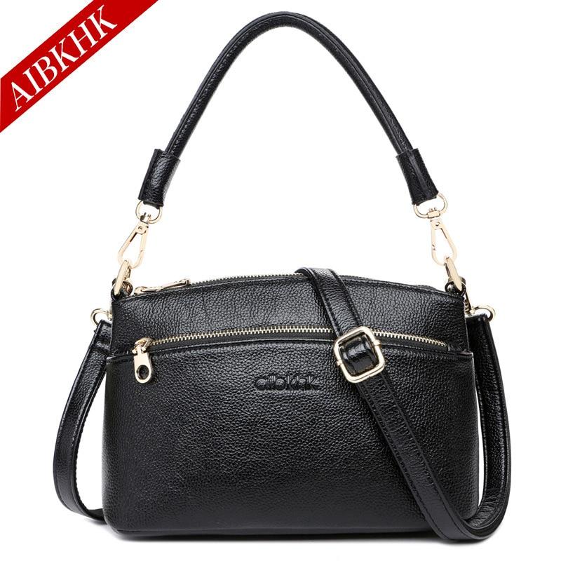 AIBKHK 2017Brand Women Genuine Leather Handbags Cow Oil Wax Designer Ladyies Real Handbags High Quality Women Messenger Bags