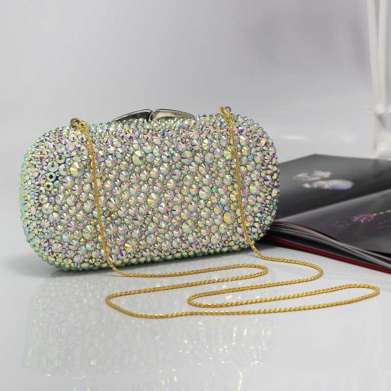 Exquisite Full Crystal Women Evening Purse Metal Clutches Bag Bridal Wedding Clutch Cocktail Party Handbag(1017-NP)