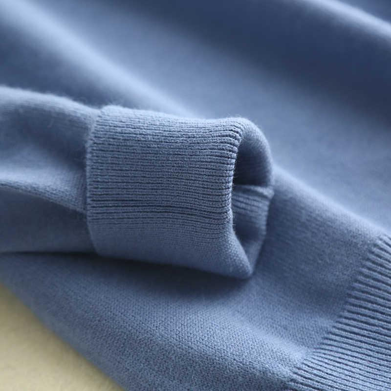 YUNSHUCLOSET 2018 осень и зима хит продаж женские кашемировые пуловеры с воротником, сохраняющие тепло однотонные пуловеры с длинными рукавами