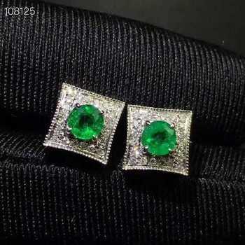 natural green emerald gem stud earrings Natural gemstone earrings Elegant pincushion pincus S925 silver girl women gift jewelry