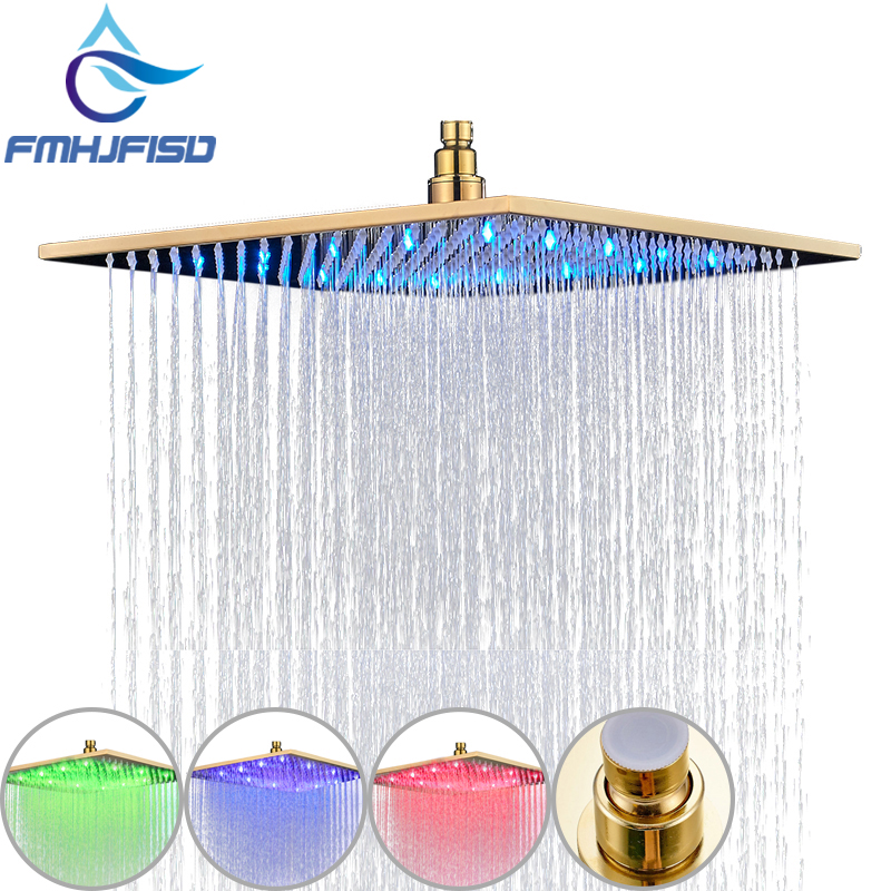 Gold Plated Shower Head 8 10 12 16 LED Shower Head Wall Mounted Ceiling Mounted Shower