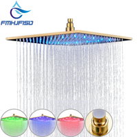 Gold Plated Shower Head 8 10 12 16 LED Shower Head Wall Mounted Ceiling Mounted Shower Heads Sprayer