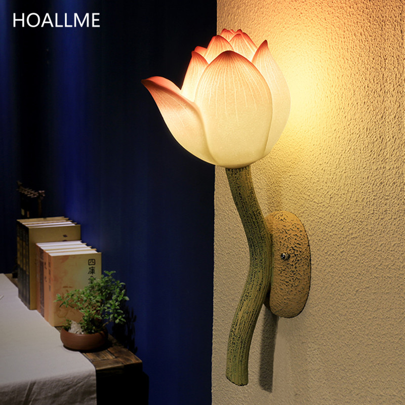 Decorative Wall Lamps China : Chinese Wall Lamp Lotus Flower Wall Light Restaurant Stairways Sconces Living Room Bedroom ...