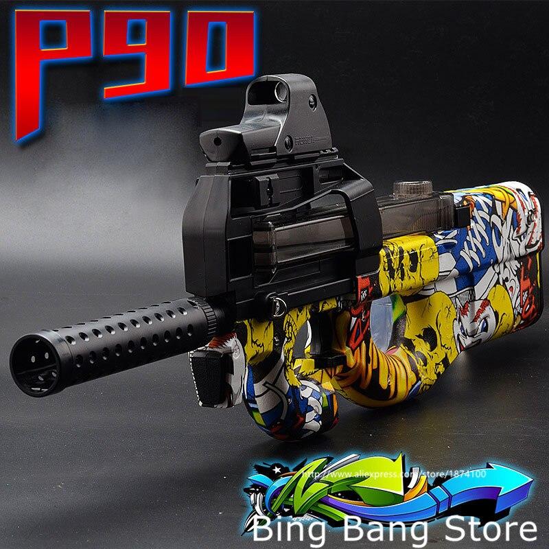 Pistolet à eau continu automatique P90 porte nouvelle arme en direct CS Camp d'abullet pistolet pour enfants jeunesse adulte cadeau garçon