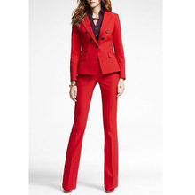 Red Office Uniform Designs Women Business Suit Double Breasted Lady Trouser