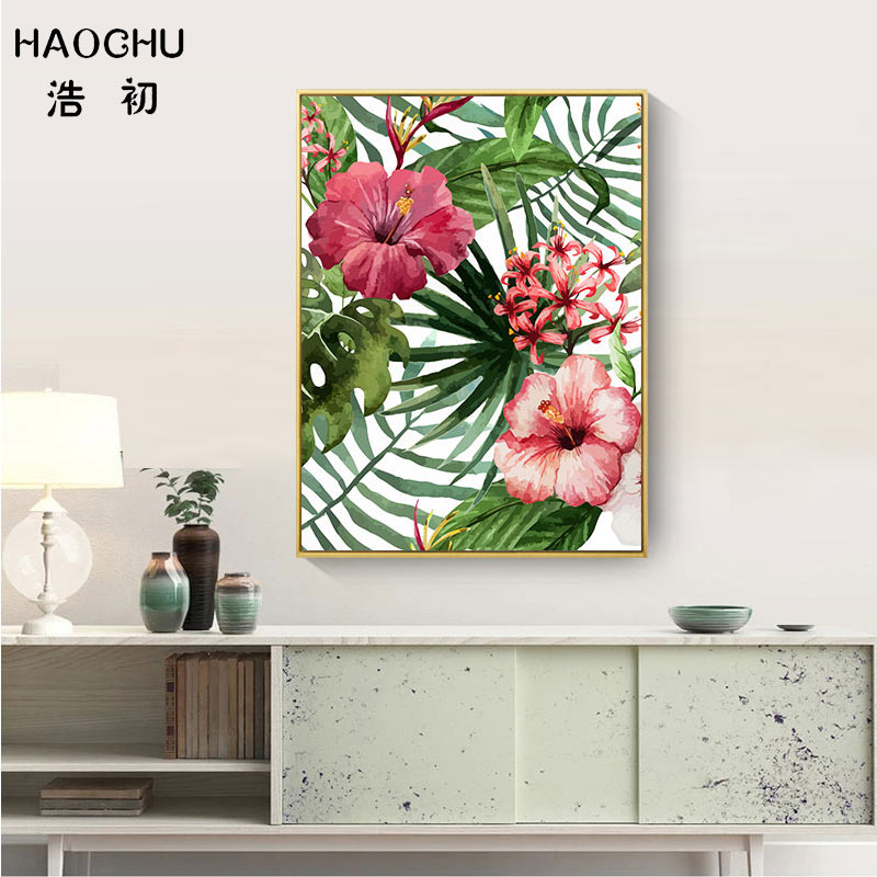 Image 4 - HAOCHU Tropical Forest Flower Leaves Watercolor Plant Flamingo Art Poster Print Picture Wall Decor Canvas Painting Home Decor-in Painting & Calligraphy from Home & Garden