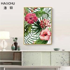 Image 4 - HAOCHU affiche artistique de flamant rose rose et feuilles de fleurs de forêt tropicale pour décor