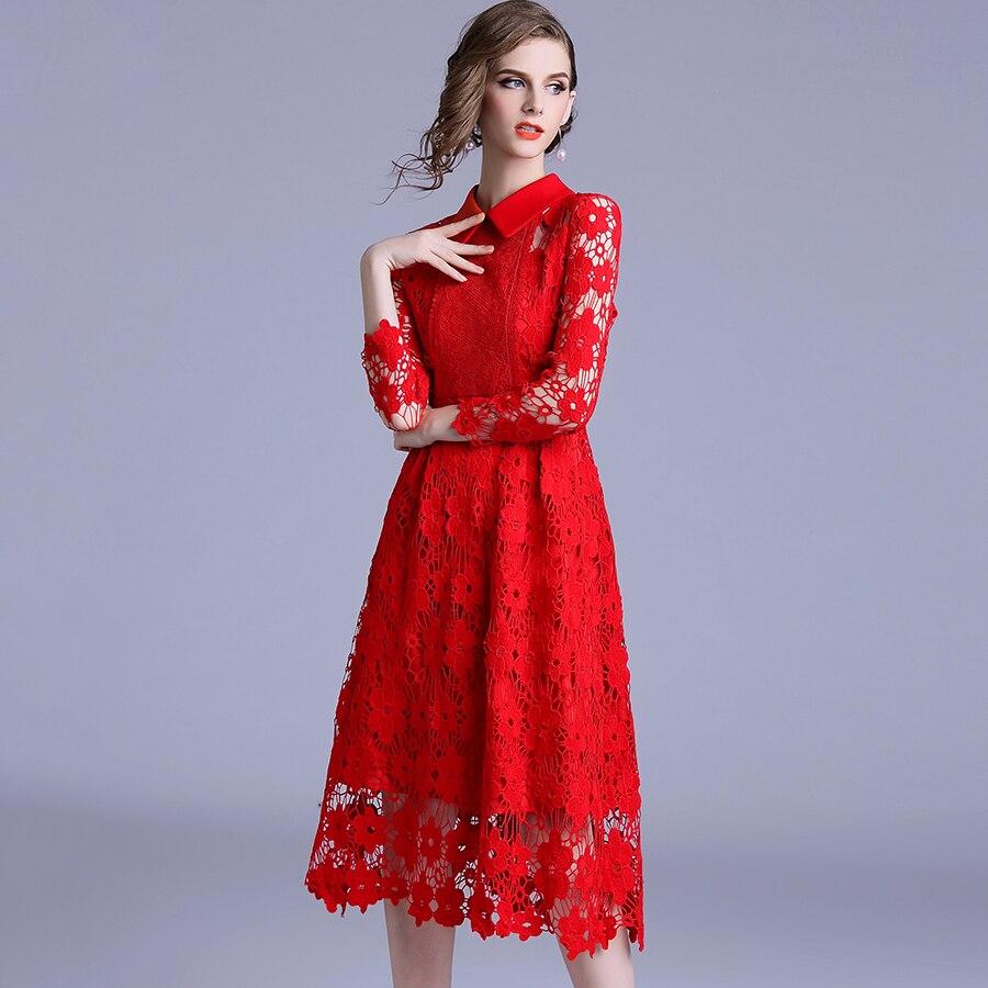Nouvelle mode à manches longues rouge dentelle robe 2018 femmes col rabattu évider Vintage Slim robe De soirée a-ligne Vestidos De Festa - 4
