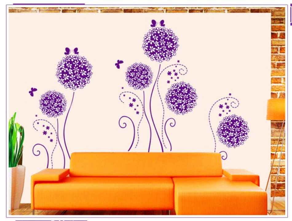 Home decor charming purple flower butterfly wall decal for living room personality romantic wall - Charming romantic living room ideas and decorating tips ...