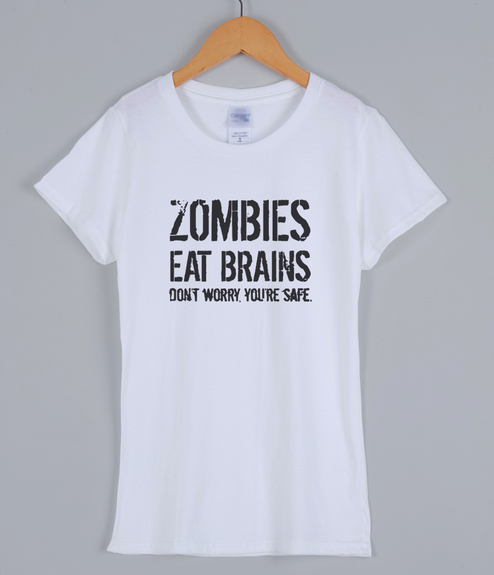 27f61858c 2017 Women's T shirts Zombies Eat Brains Shirt Funny Zombie T shirts Living  Dead Zombie Outbreak Tees Female T shirt Top Lady-in T-Shirts from Women's  ...