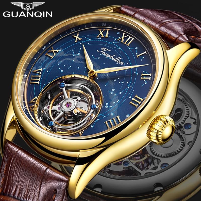 GUANQIN Tourbillon Degli Uomini orologi top brand di lusso reale Tourbillon orologio da uomo Zaffiro Mano meccanica del Vento della vigilanza Relogio Masculino