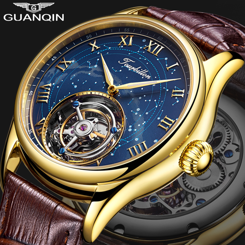 Tourbillon GUANQIN Men watches top brand luxury real Tourbillon clock men Sapphire Hand Wind mechanical watch Relogio Masculino