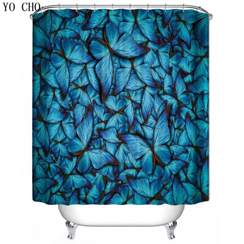 YO CHO navy blue butterfly pattern shower curtains elegant luxury curtains for the bathroom cheap high quality bath decoration zwbra shower curtain