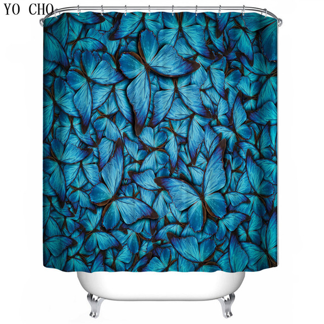 YO CHO Navy Blue Butterfly Pattern Shower Curtains Elegant Luxury For The Bathroom Cheap High