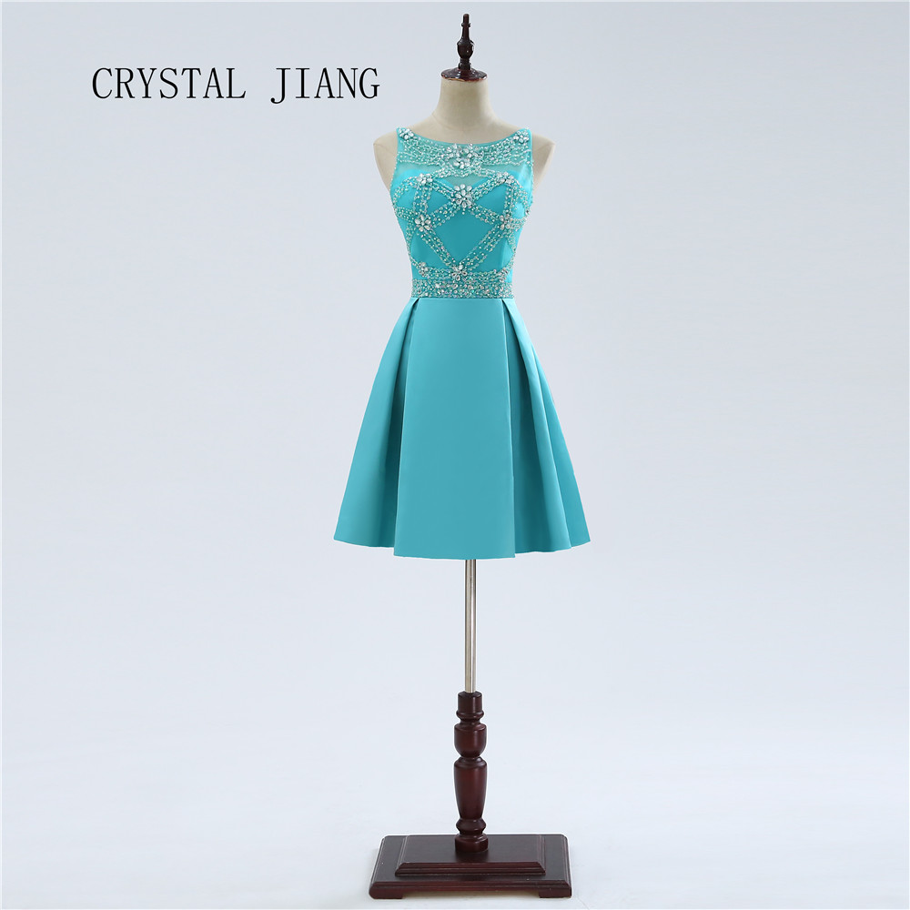 CRYSTAL JIANG In Stock Heavy Beaded A Line Cocktail Dress Satin Short Prom Party Gowns Green Cheap Cocktail 2018 Real Photo