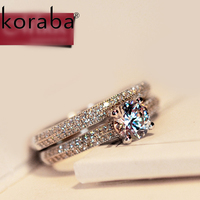 Koraba High Quality Women 925 Sterling Silver Ring Pink AAA Cubic Zirconia Fine Jewelry Classic Engagement