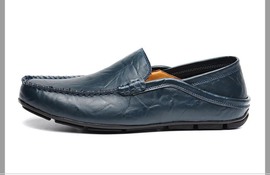 Повседневная обувь для вождения Для мужчин из натуральной кожи Лоферы зима темно-синий Для мужчин Лоферы Элитный бренд обувь на плоской под...