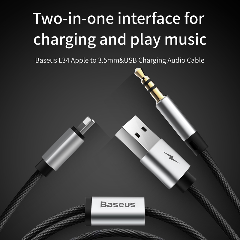 Baseus 2 In 1 USB Cable For IPhone Aux Audio Earphone Headphone Adapter X To Jack 35mm Charger On Aliexpress