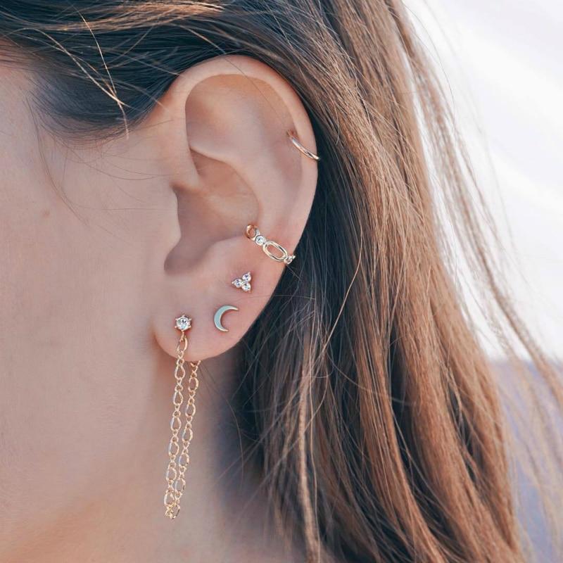 Kristall asymmetrische Ohrringe Sternen und Mond Ohrringe für Frauen Geschenk HQ