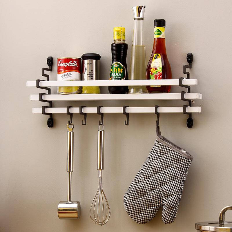 White kitchen shelves wall hanging condiment rack with hook ...