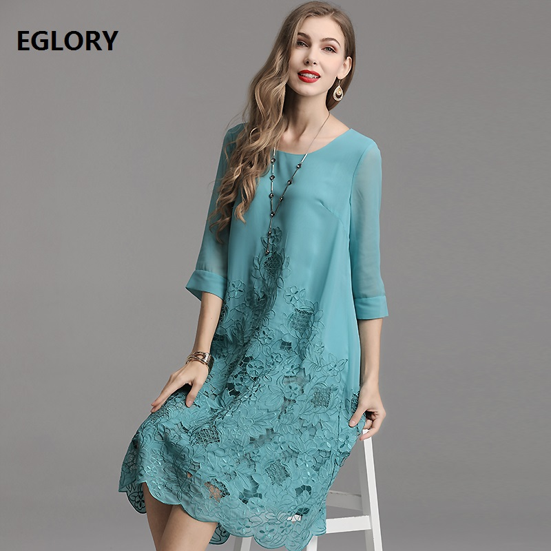 Top Quality Brand Chinese Dress 2019 Summer Style Party Luxury Dress Women Hollow Out Embroidery Patchwork Blue Orange Red Dress
