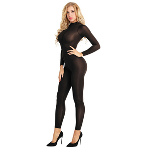 Image 3 - สตรีเซ็กซี่ Bodystocking ชุดชั้นในแขนยาวเรียบเส้นใยคู่ซิป SHEER เรียบดูผ่านเปิด Crotch Bodysuit Jumpsuit