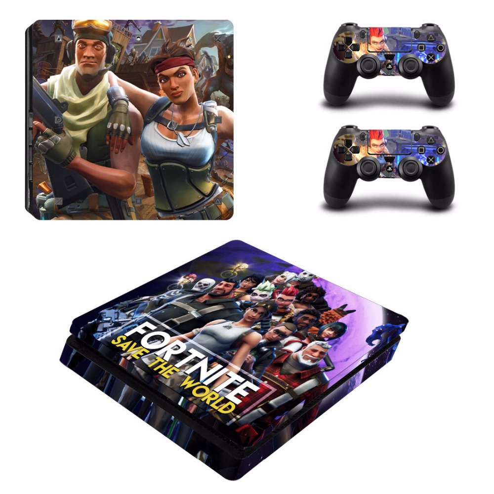 Fortnite PS4 Slim Skin Sticker Cover For Sony PlayStation 4 Slim Console 2 Controllers Skins Game Accessories
