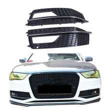 2x For Audi A4 B9 S-Line S4 Sedan 2013 2014 2015 Front Bumper Fog Lights Grille Foglamp Grill Cover Gloss Black + Sliver #P449(China)