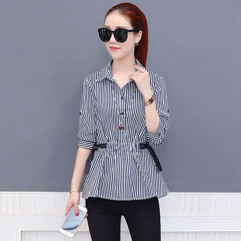 Женская шифоновая блузка с бантом и длинным рукавом, модель DF2420 на весну и лето
