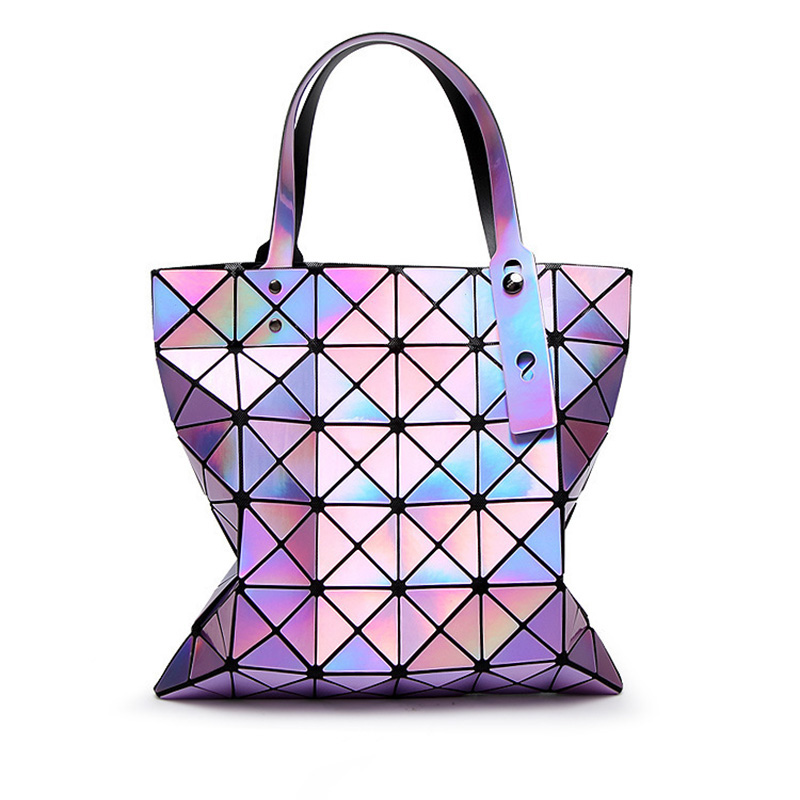 2017 Fashion Ladies Folded Geometric Plaid Bag Women Laser Bright Casual Totes Bag Shoulder Bags Fold Over Bao Bao Handbags geometry laser women bao bao bags women shoulder bag transformation luminous laser geometric bag diamond lattice women handbags