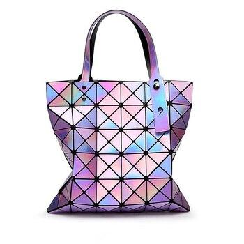 2019 Fashion Ladies Folded Geometric Plaid Bag Women Laser Bright Casual Women Tote Bag Shoulder Bags Fold Over Bao Bao Handbags Сумка