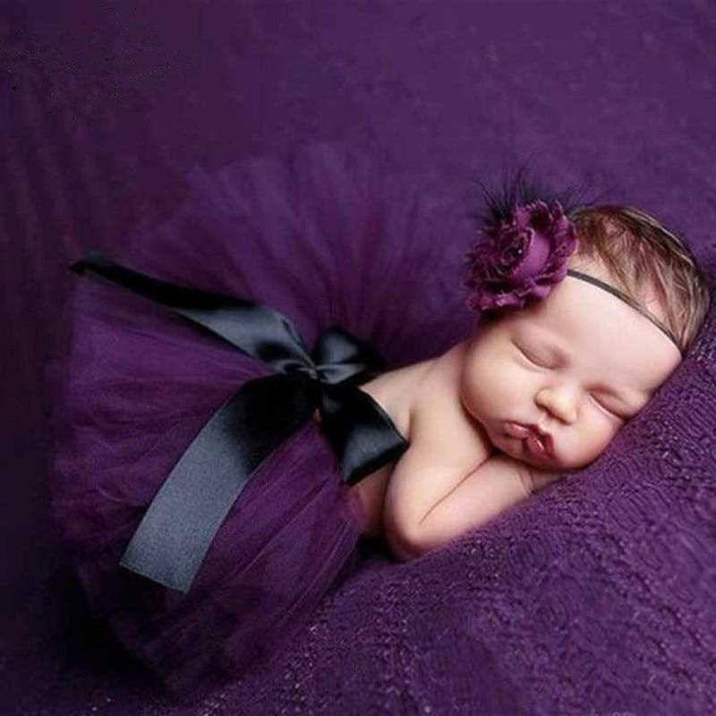Newborn Photography Props Baby Tutu Skirt+Headband Set Baby Photo Prop Clothing Skirts Photography Babies Accessories Fotografia