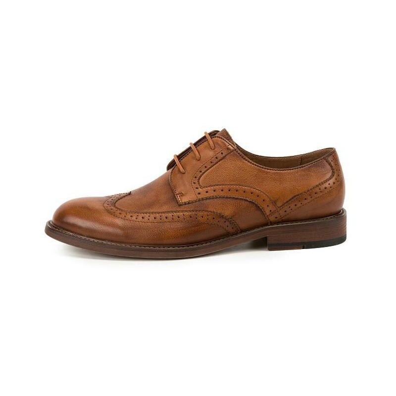KRUSDAN marka oryginalne skórzane buty męskie cielca styl skóry wołowej mężczyzn buty w stylu casual zasznurować Oxford buty męskie wypoczynek skórzane buty w Oxfordy od Buty na  Grupa 2