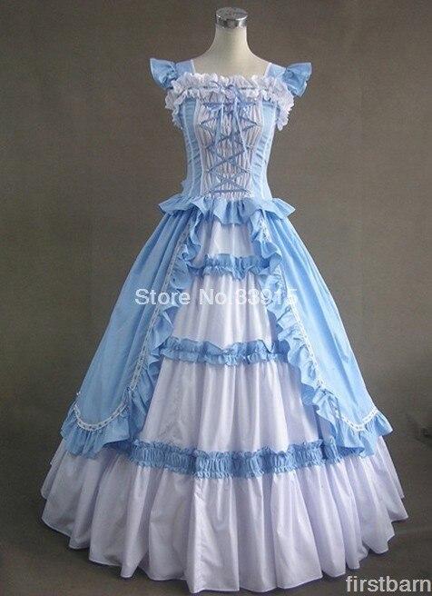 Kleidball lange gotische viktorianische Verschiffen Freies Lolita Preiswerte Klage blauermellose Art WD9IEH2