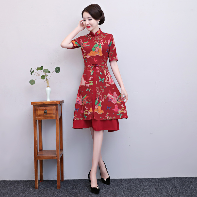 New Red Chinese National Vietnam Aodai Dresses Women Satin Sexy A Line Cheongsam Vintage Flower Slim