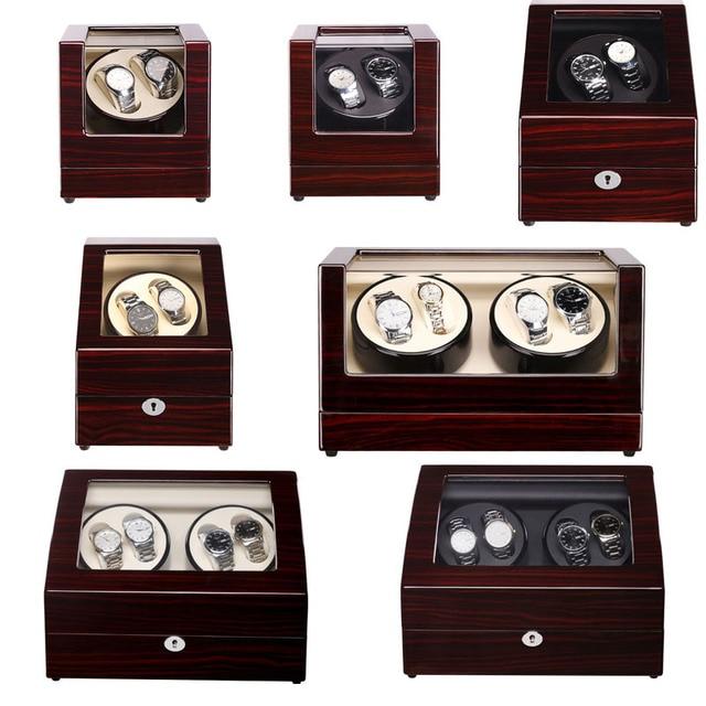 Caoba laca de sándalo de lujo cajas de bobinadora de reloj automático modelo completo Motor de Japón Slient para exhibición y almacenamiento de relojes de marca