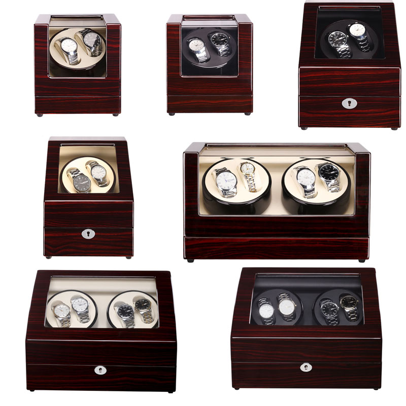 Mahogany Lacquer Sandalwood Luxury Automatic Watch Winder Boxes Full Model Slient Japan Motor for Brand Watches Display&Storage