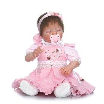 22inch  Reborn silicone Baby Dolls Toy Vinyl sleeping princess dolls pink dress Birthday handmade Xmas Gift Play House Bonecas