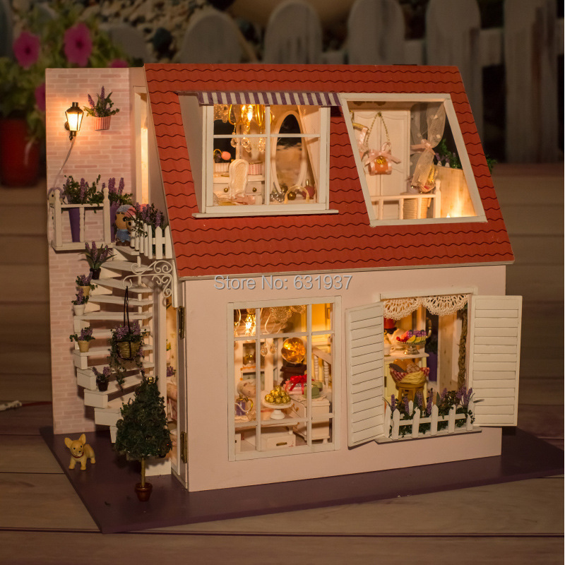 Diy Wooden Doll House Miniatura Furniture Wood dolls 1/12 light Dollhouse Miniature House Toy Gifts Houses toys Birthday Gift children russia dolls wooden toys big size wood matriarchy puppet each with 5 different size dolls memory toy free shipping