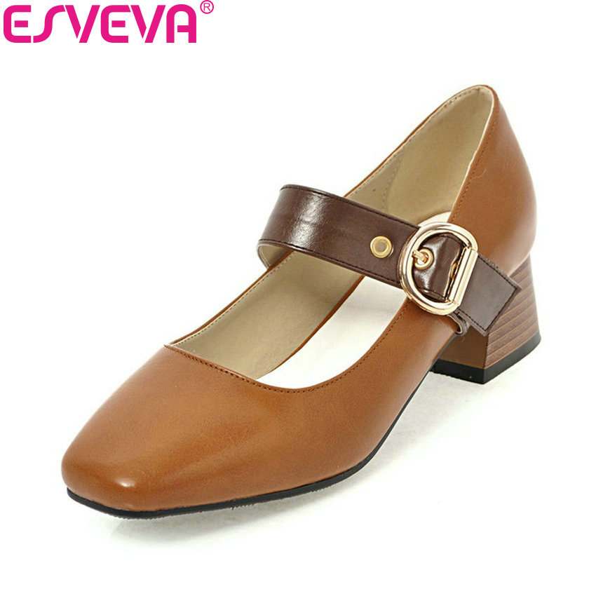 ESVEVA 2018 Women Pumps Western Style Shoes Leather PU Square Med Heels Square Toe Buckle Classic Ladies Pumps Shoes Size 34-43 цена 2017