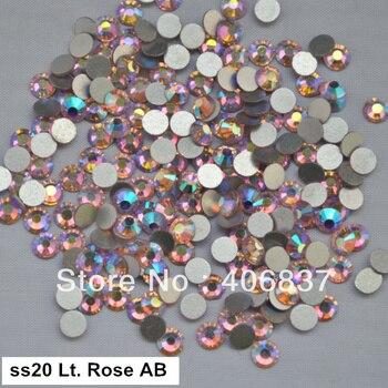 ¡Envío Gratis! 1440 unids/lote... ss20 (4,8-5,0mm) luz Rosa AB espalda plana pegamento no Hotfix en uñas arte diamantes de imitación