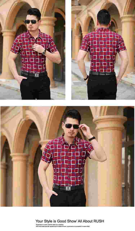 MIXCUBIC Лето Мерсеризованный разные цвета рубашки в клетку мужская повседневная Тонкий Эластичность Глянцевая с короткими рукавами рубашки мужчин, большие размеры M-6XL