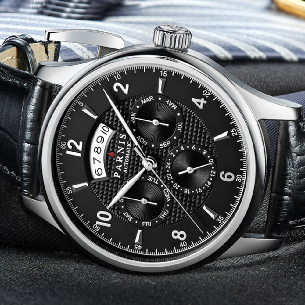 42mm parnis Black Dial Sapphire Glass Luxury Brand Steel Case Miyota Automatic Movement men's Watch 42mm parnis withe dial sapphire glass miyota 9100 automatic mens watch 666b