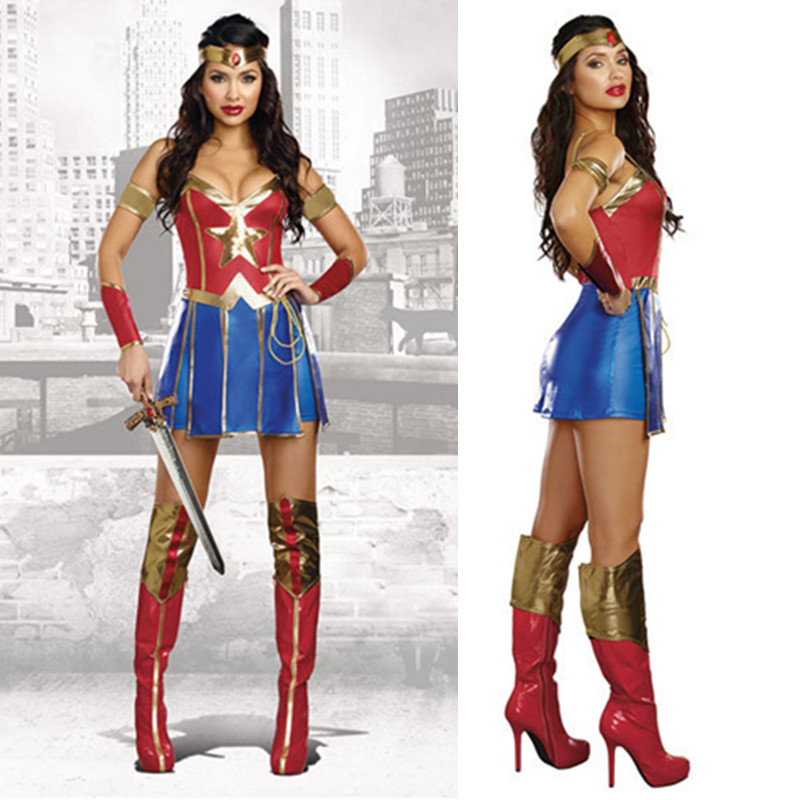 S 2XL Adult Wonder Woman Cosplay Halloween Party Costumes Dawn Justice Superhero