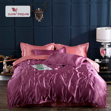 SlowDream Red Luxury 100% Silk Bedding Set Fitted Sheet Rubber Corners Bedspread Adult Elastic Band Decor Home Bed Duvet Cover