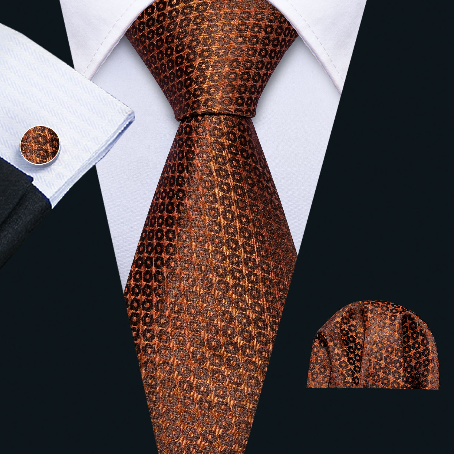 2019 Mens Wedding Tie Brown Foral Silk Tie Hanky Set Barry.Wang Jacquard Woven Fashion Designer Neck Ties For Men Party FA-5142