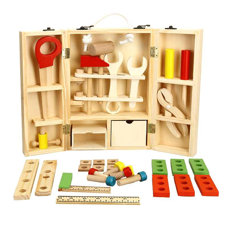 New Wooden Toolbox Service Simulation Toolbox Nut Toolbox toys Baby kids Educational toys Size 30*20.3*8cm Gift